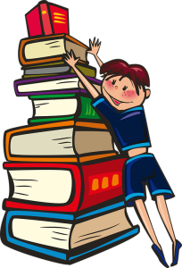 reader reaching for a stack of books