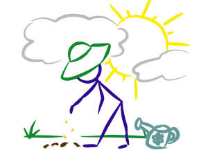 gardener stick man planting seeds