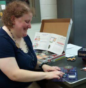 Liz demonstrates snap circuits