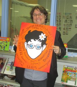 Miss Dani with a portrait in the style of Wonder